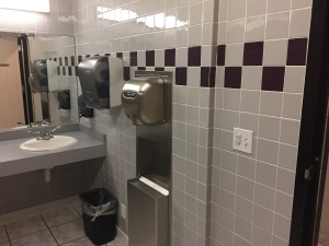 Data Center restroom prior to remodel. Circa 1980's design
