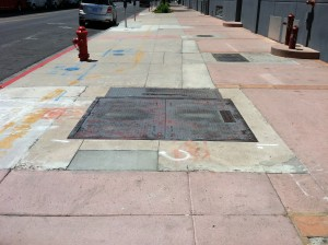 Existing sidewalk before replacement.