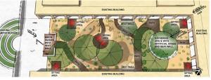Aerial Site Plan of Estrella Elementary grades 6 - 8 courtyard