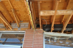 Existing condition uncovered on Tenant Improvement.  There was a steel beam we didn't know existed.