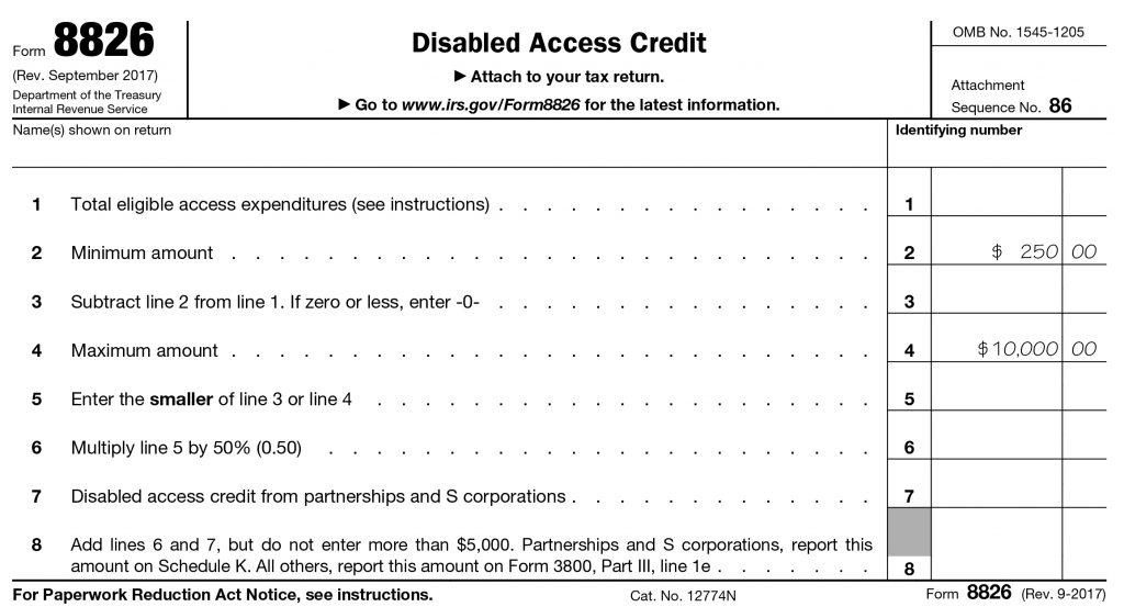 ADA Renovation Tax credit