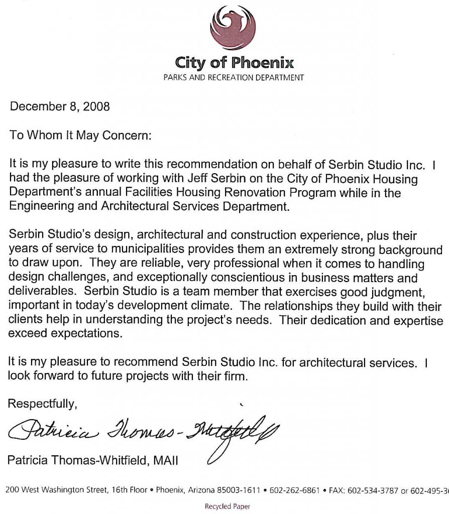 Architects letter of recommendation